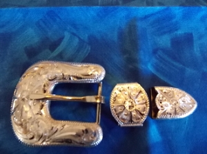 Kansas sterling overlay buckle set 2f54c