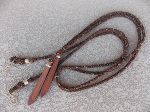Mane Hair Split Reins with leather poppers 752RC