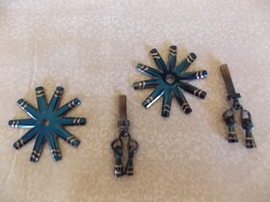 Fancy Silver Inlaid blued spur rowels with jingle bobs SRSC01