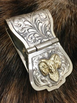 Big Horn Adventure Hand Engraved Sterling Money Clip 121-590